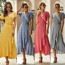 2019 New Spring V Neck Short Sleeve Print Yellow Pink Chiffon Dots Loose Big Size XL Long Maxi Split Dress Women Fashion Tide