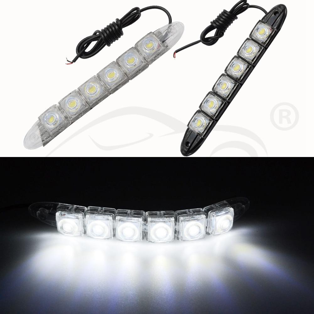 Hviero Car Styling DRL Daytime Running Lights 6LED White Waterproof Bright Flexible Driving Fog Bulb Warning Lamp DC 12V Auto Led