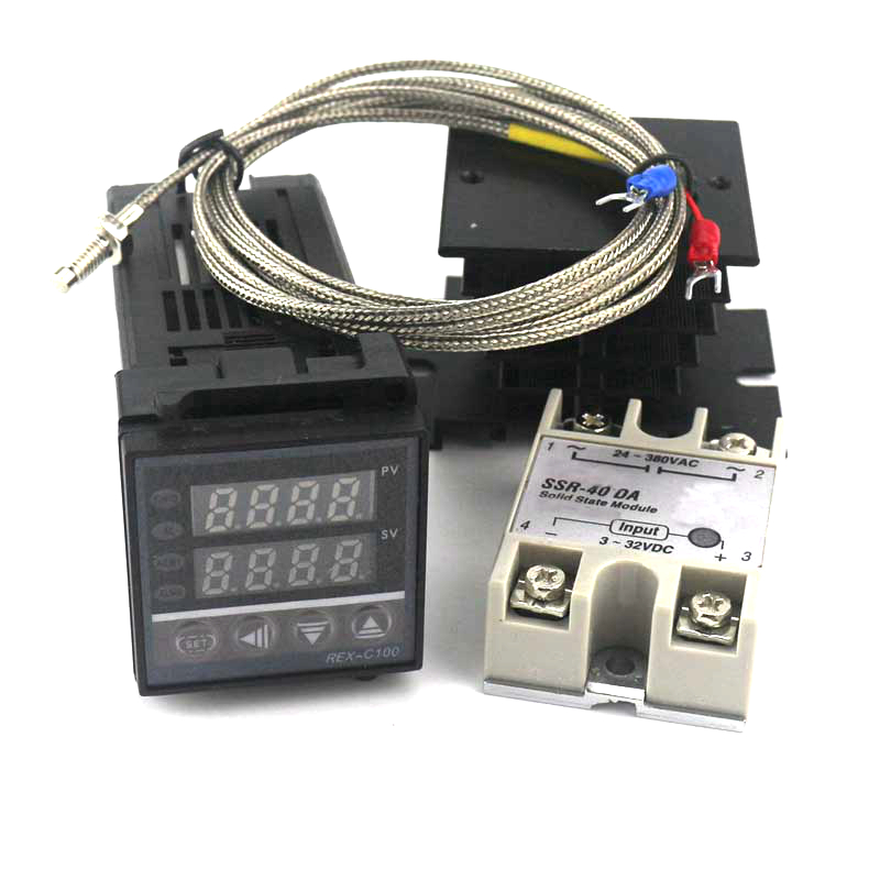 Dual Digital PID SSR Thermostat Regulator Temperature Controller Kit REX-C100 with SSR-40DA, Heat Sink, 2m K Thermocouple  цены