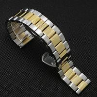Uhrenarmband 24mm Silber & Goldene Farbe Edelstahl Band Poliert GD014124
