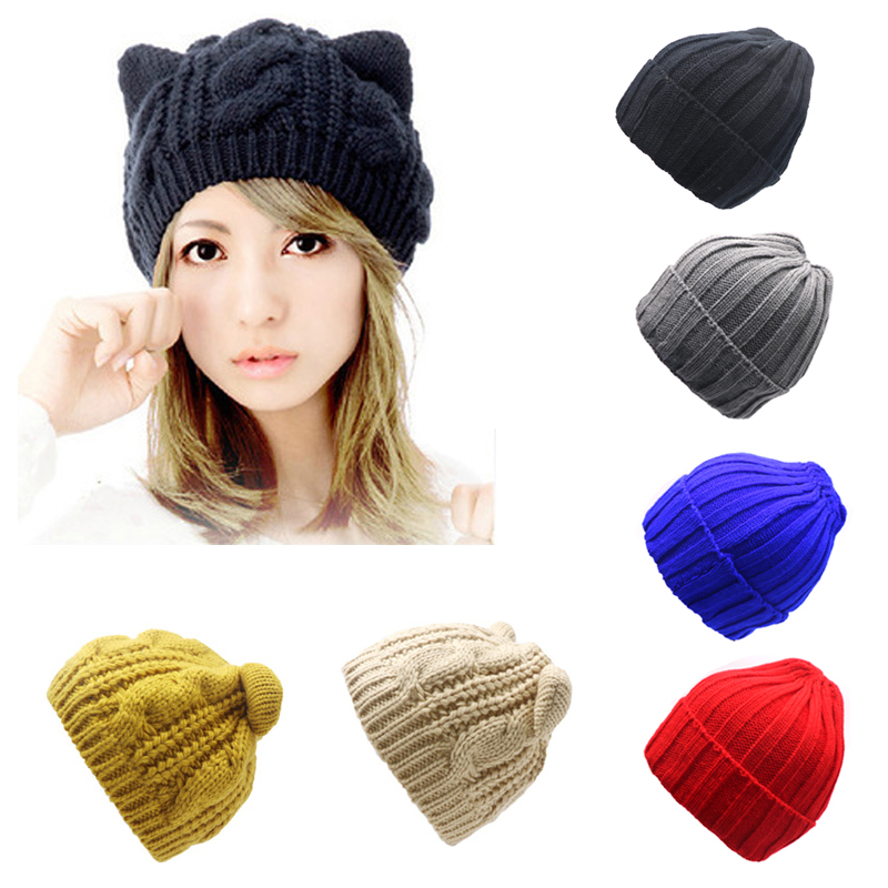 Arherigele Hat Female Cute Ears Shape Cap Warm Winter Cap Hat for Women Girls's Braided Knitted Hat Cap   Skullies     Beanies   Gorro