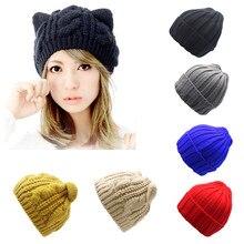 f31e7be4240 Arherigele Hat Female Cute Ears Shape Cap Warm Winter Cap Hat for Women  Girls s Braided Knitted
