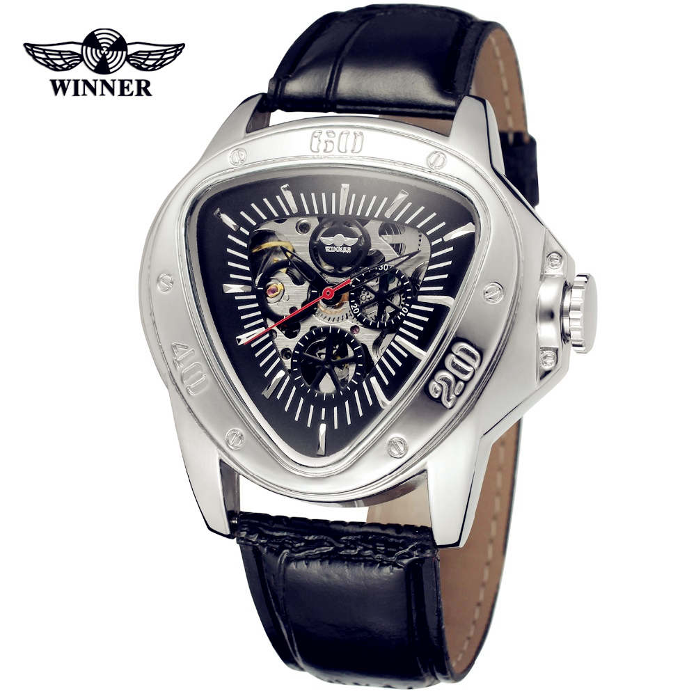 Fashion WINNER Men Luxury Brand Triangle Skeleton Leather Casual Watch Automatic Mechanical Wristwatch Gift Box Relogio Releges