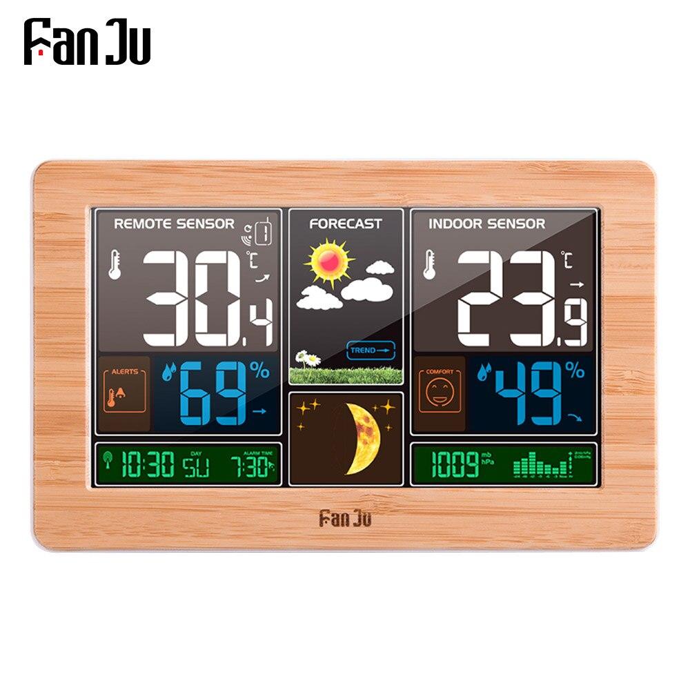 FanJu FJ3378 Digital Alarm Clock Weather Station Wall Indoor Outdoor Temperature Humidity Watch Moon Phase Forecast