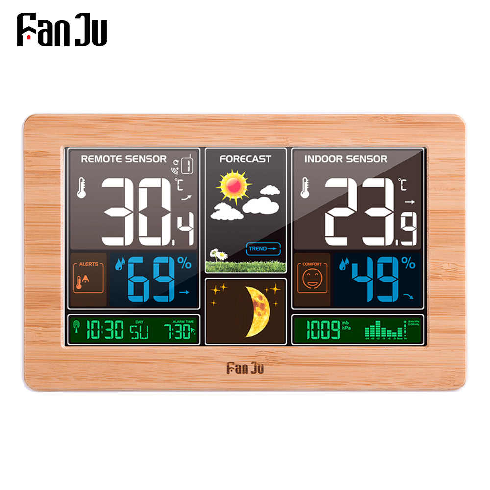 Fanju FJ3378 Jam Alarm Digital Weather Station Dinding Indoor Outdoor Suhu Kelembaban Menonton Moon Phase Cuaca USB Charger