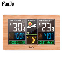 Fanju FJ3378 Jam Alarm Digital Weather Station Dinding Indoor Outdoor Suhu Kelembaban Menonton Moon Phase Cuaca USB Charger(China)