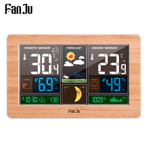 FanJu FJ3378 Digital Alarm Clock Weather Station Wall Indoor Outdoor Temperature Humidity Watch Moon Phase Forecast USB Charger(China)
