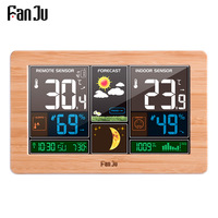 FanJu FJ3378 Digital Alarm Clock Weather Station Wall Indoor Outdoor Temperature Humidity Watch Moon Phase Forecast USB Charger