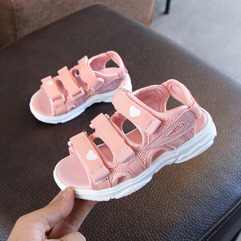 ULKNN Children's Sandals 2019 Summer New Girls Princess Shoes Big Girls Non-slip Soft Bottom Beach Shoes Tide