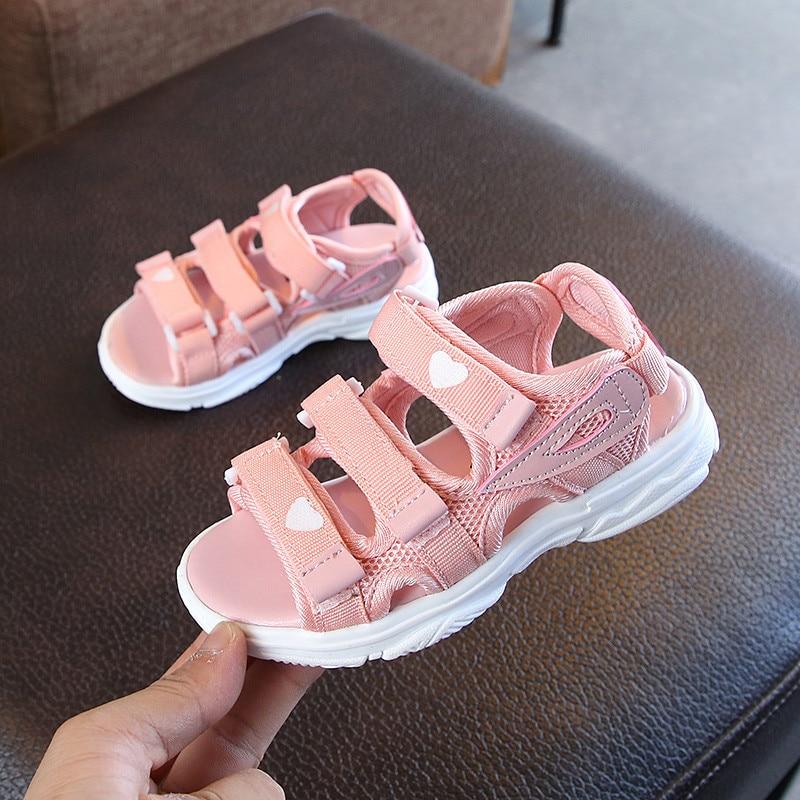 ULKNN Children's Sandals 2019 Summer New Girls Princess Shoes Big Girls Non-slip Soft Bottom Beach Shoes Tide