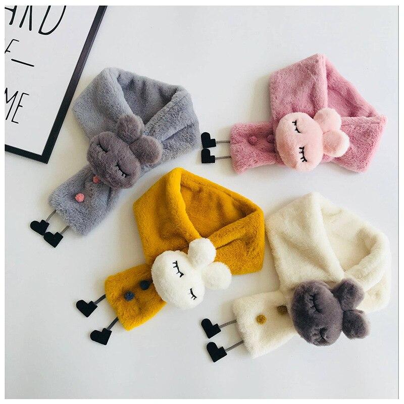 PPXX 2019 Winter Baby Scarf Cartoon Rabbit Children Scarves Faux Fur Neck Warm Kids Scarf Fur Ball Girls Boys Bufanda Bebe
