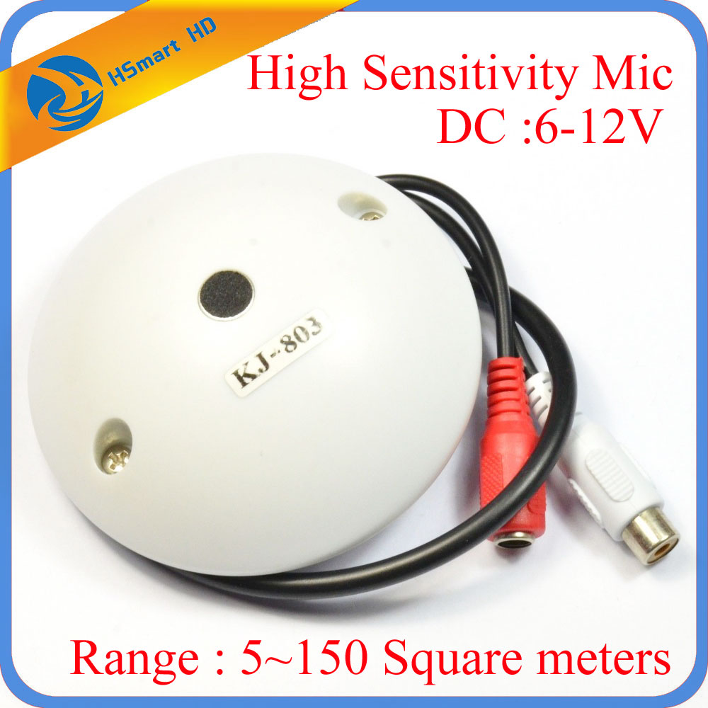 CCTV Microphone Audio Pick up Device High Sensitivity 12V DC Ceiling Mount Microphone for Camera DVR Kits (Range : 5~150 Square) audio pick up cctv microphone mini microphone for camera f78