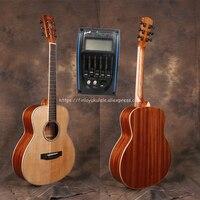 38 дюймов gsmini одноцветное Гитары с твердыми ель Топ/тело красного дерева с полный размер тела, электрический Гитары ras с пикап тюнер