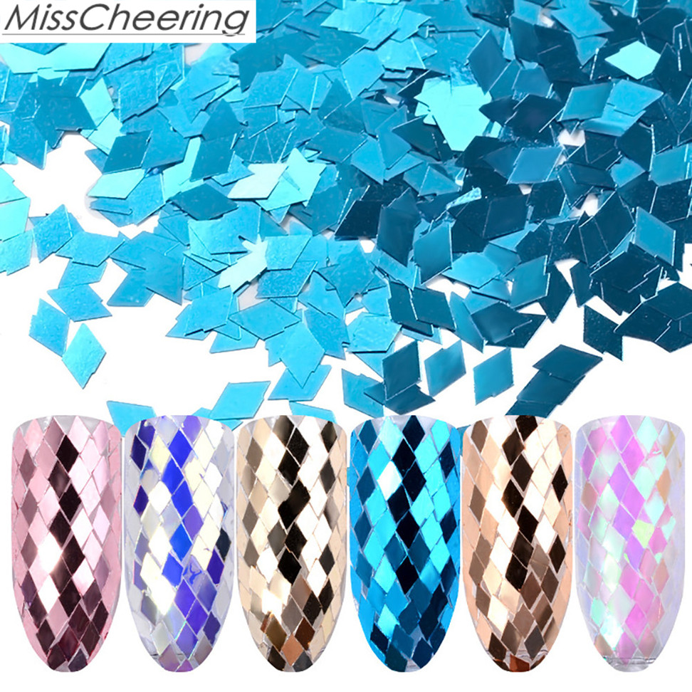 Misscheering 2018 New 6 Colors Diamond Shaped Dazzling Nail Sticker Colorful Nail Art Decoration Manicure Tools Drop shipping