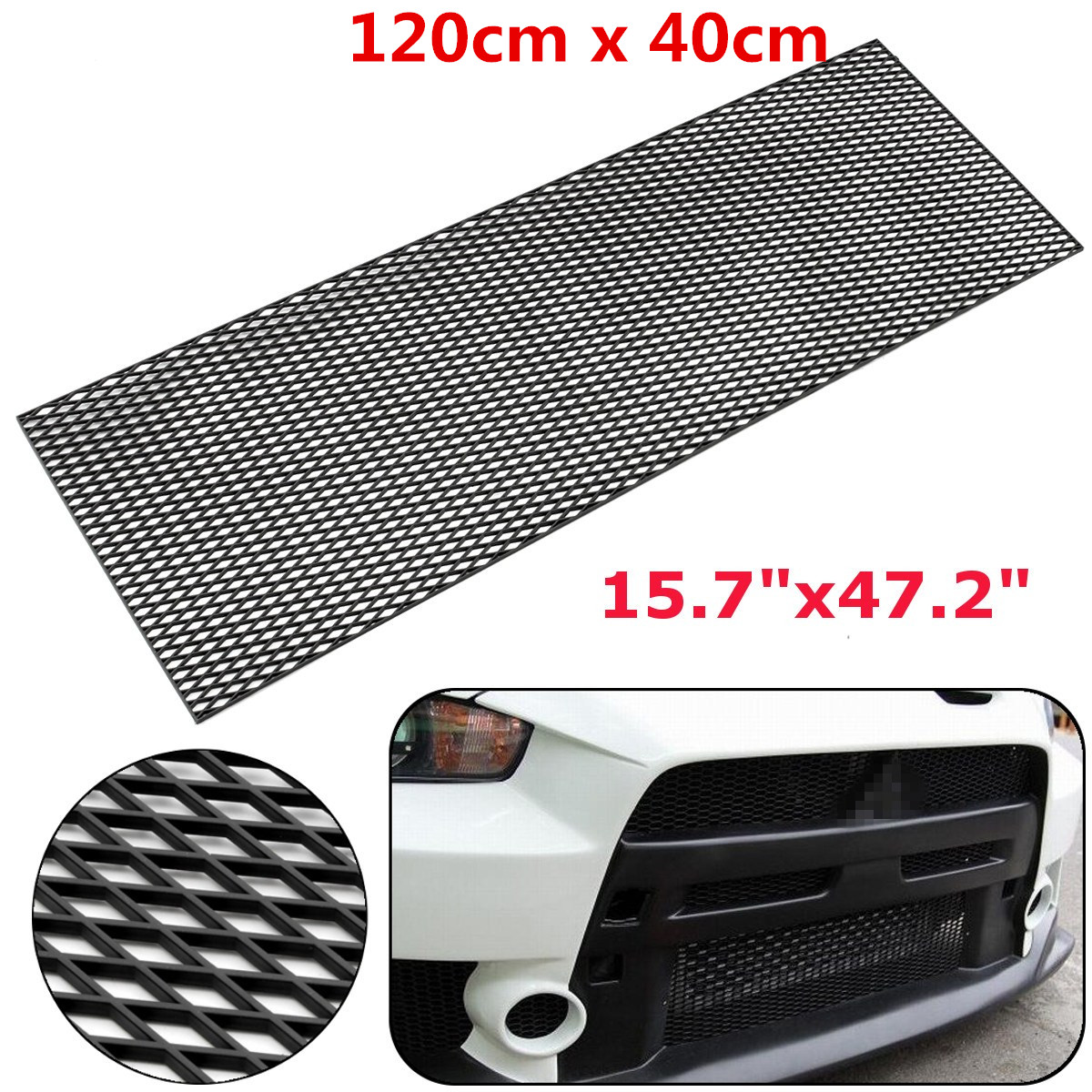 120cm Universal Car Styling Honeycomb Mesh Grill ABS Plastic Spoiler Front Bumper Hood Vent Air Intake ob 515 universal air flow vent hood covers for car silver pair