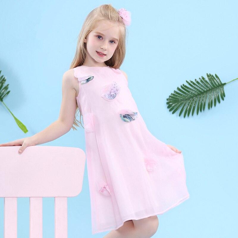 WL.MONSOON Children's clothing 2018 summer New Dresses for girls Sleeveless chiffon Dress Western princess dress A-line dress simple style sleeveless cut out chiffon dress for women