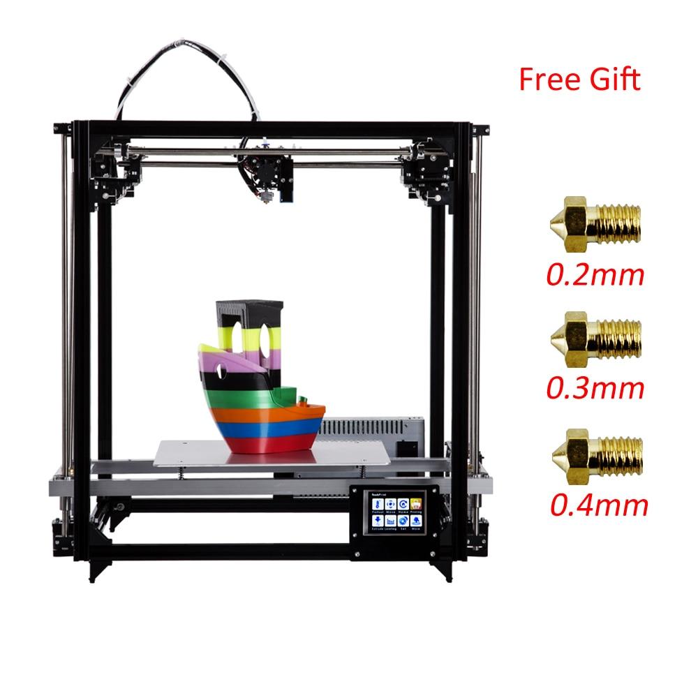 Flsun Carré 3D kit imprimante impression grand format Zone 260*260*350mm 3D Imprimante Chauffée Lit 3.2 Pouces écran tactile Un rouleau Filament