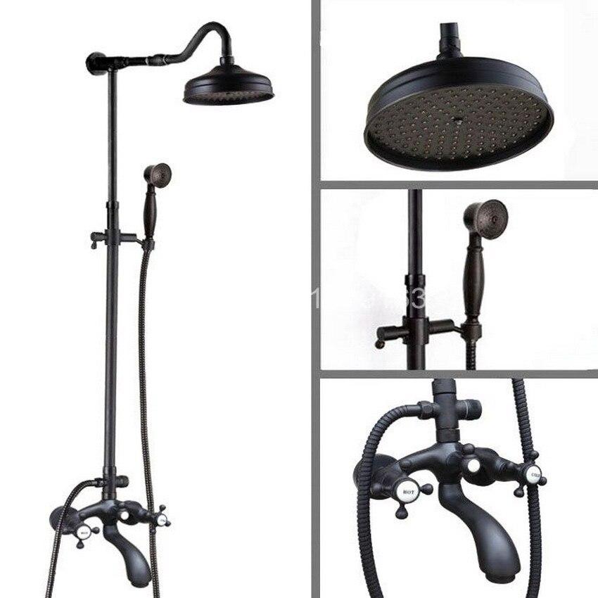 Brass Wall Mounted Black Oil Rubbed Bronze Bathroom Rain Shower Faucet Set Bath Tub Hot Cold Mixer Tap Dual Cross Handles ahg613
