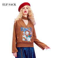 Elf sack frühlingsfrauen hemd hohl druck langhülse t-shirt frauen v hohl kragen geschmack muster druck schlitze horn hülse