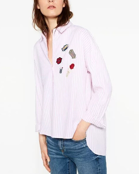 2016 new women fashion vintage long sleeve badge patch blouses shirts retro vestidos loose casual 2 colors blusas Tops