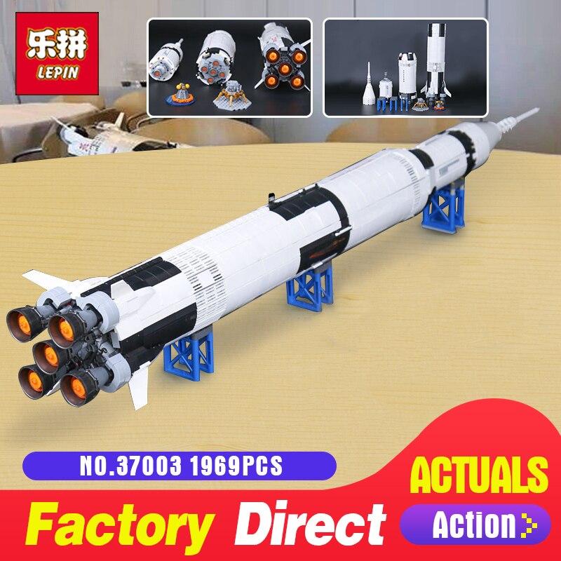 Лепин 37003 apollo Сатурн v Совместимость с LegoINGlys 21309 автомобиля ракеты кирпичи строительный Набор сделай сам блоки игрушка подарок на Новый год