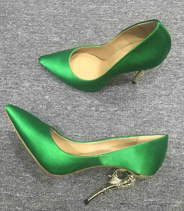 Macytino Zarif Kadın Pompaları Sivri Burun Saten Ipek Yüksek Topuklu Ayakkabılar Seksi Metal Altın Deniz At Topuklu Femme Düğün