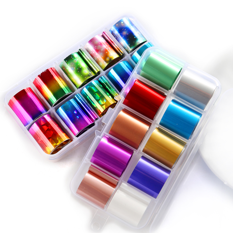10Pcs/Box Starry Sky Nail Art Tip Nail Foil Decal Manicure DIY Stickers Nail Decor Perfect For All Fingernails