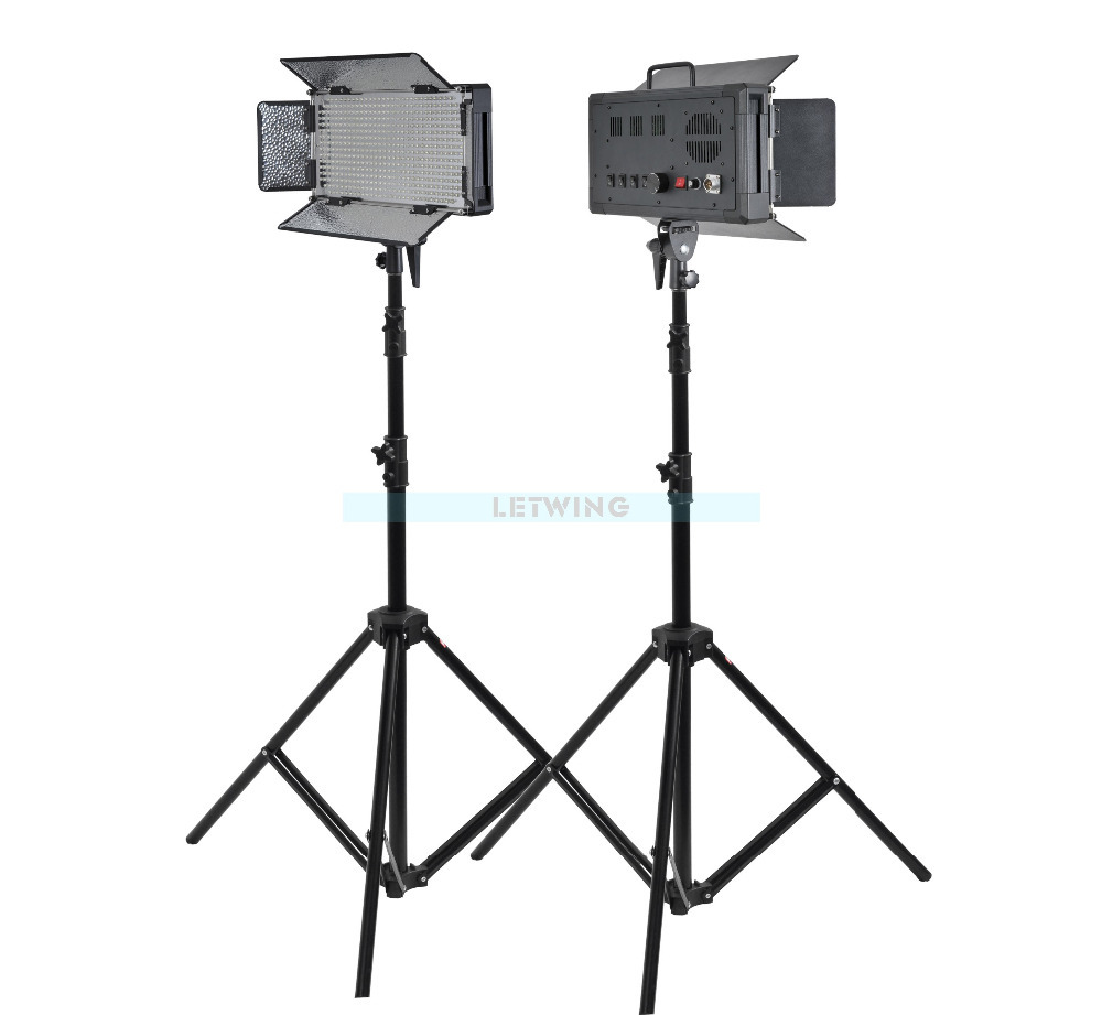 Godox 1000W 2X LED 500W Photo Studio Video Continuous Light Kit For  Camera Camcorder 3300K Yellow Version godox 1000 led studio video continuous light lamp for camera camcorder dv 3300k