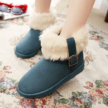 Winter fur Flock Flats Shoes botas femininas Women's Casual Platform Snow Boots Buckle Thickening Suede Short Boots Fashion