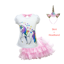 цены 2019 New hot sale Unicorn Trolls  Dresses Moana Children Girls vampire Clothing Set Costume Children Party Kids Princess Dress