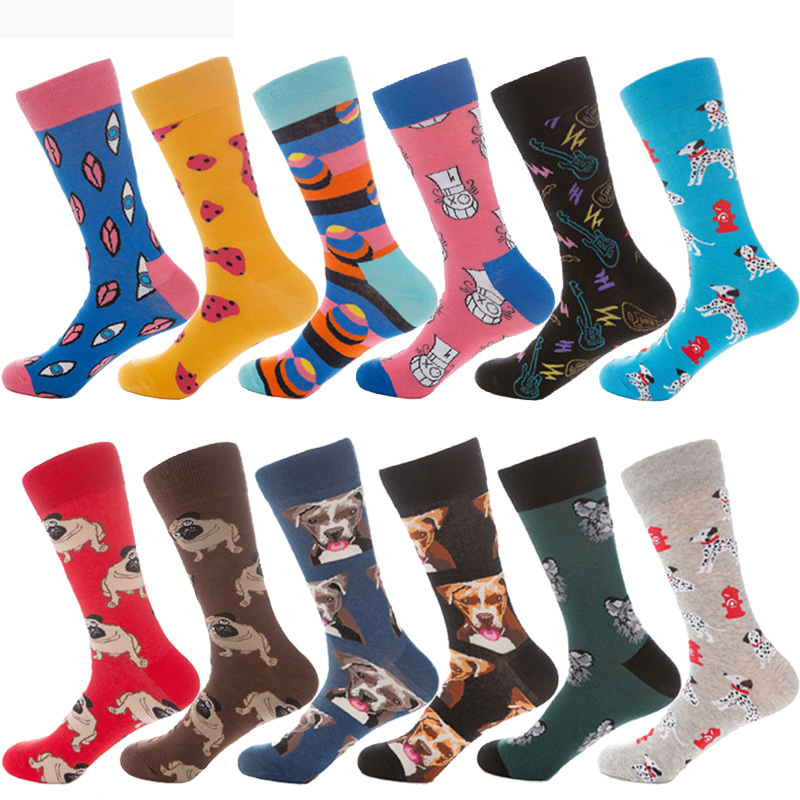 New Trend Fashion Combed Cotton Men Socks Women Animal Pug Bulldog Husky Animal Dog Socks Business Crew Funny Wedding Socks Gift