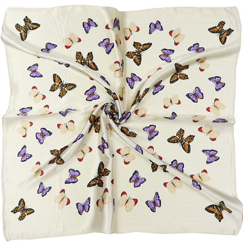 Scarves For Women Fashion 2018 Digital Printing Simulation Silk Scarf For Ladies Customize Butterfly Vintage Small Square Scarf