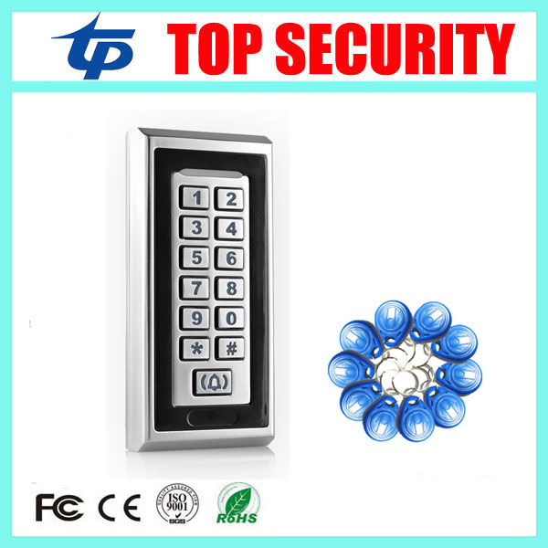 Good quality free shipping 8000 users metal access control reader standalone single door 125KHZ RFID EM card access controller rfid ip65 waterproof access control touch metal keypad standalone 125khz card reader for door access control system 8000 users