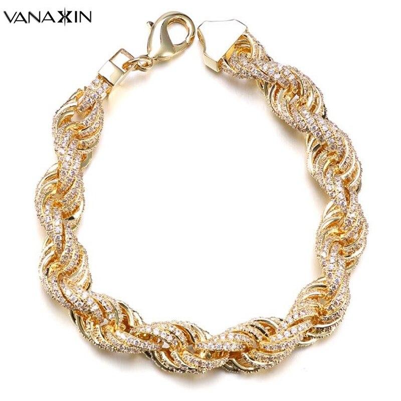 VANAXIN incrusté zircon cubique Hip Hop singapour torsadé hommes Bracelets or/argent couleur corde chaîne mode bijoux mâle cadeau