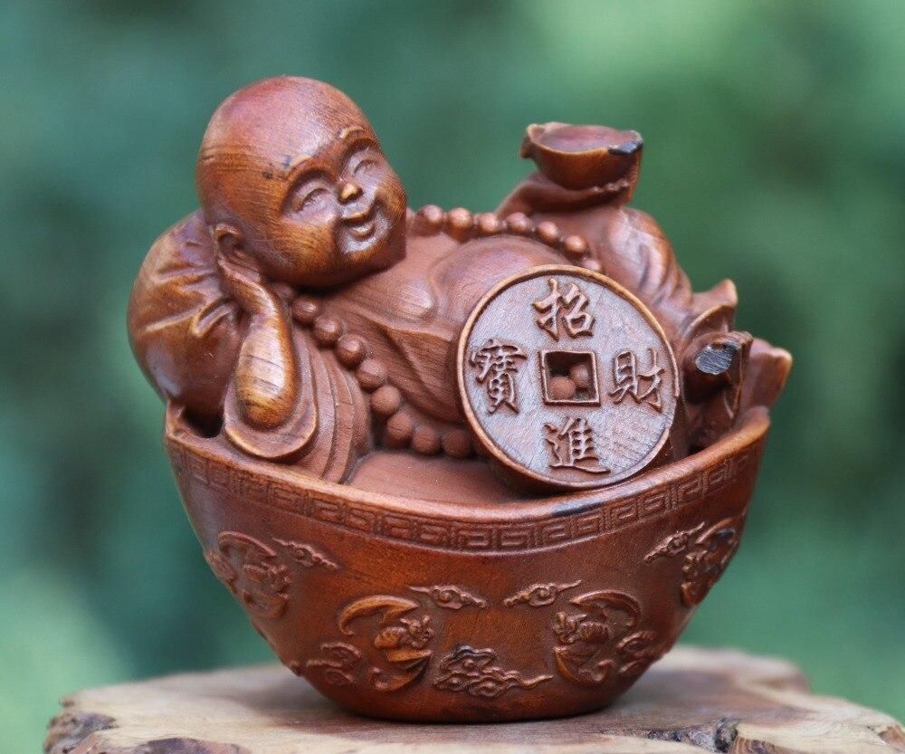 3.5 CM Tibet Buddhism Brass Copper Lucky Wealth Maitreya Buddha Amulet sculpture