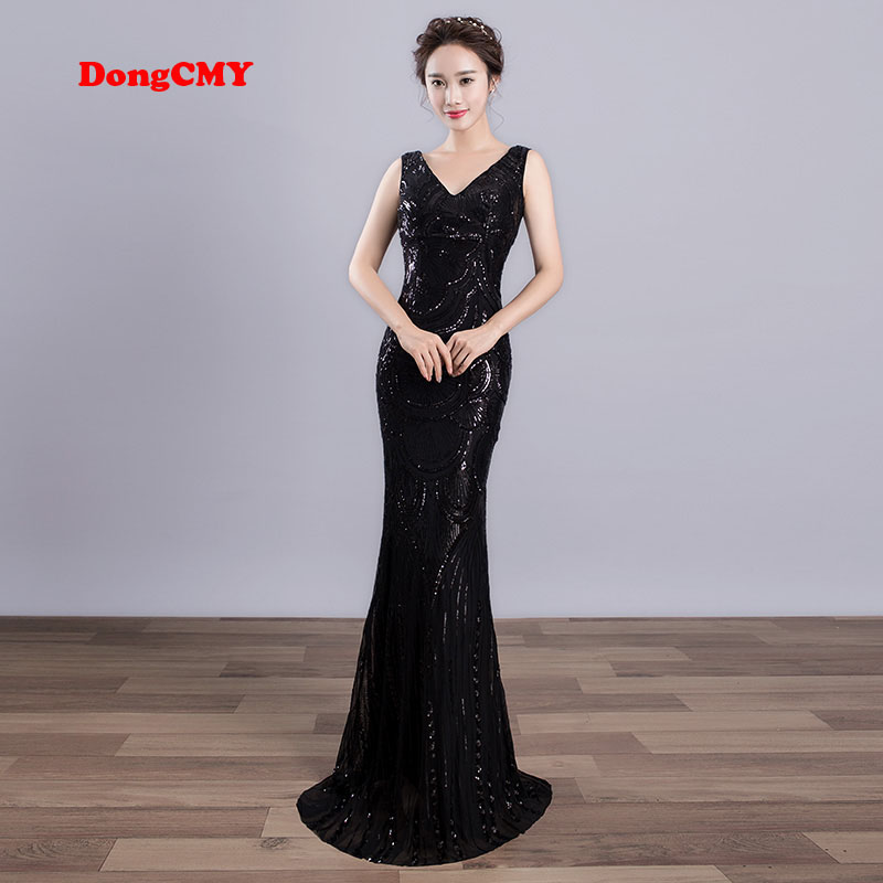 DongCMY 2019 New WT01568 Sexy Long Formal   Evening     dress   Black Color Female V-neck Mermaid Party   Dresses