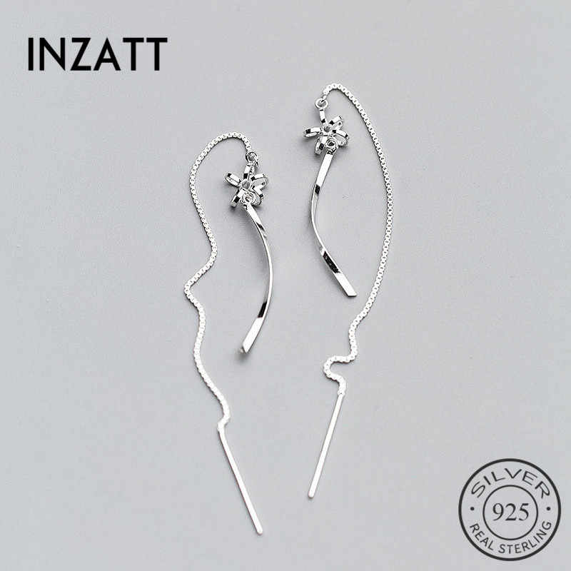 INZATT OL Elegant 925 Sterling Silver Long Chain Tassel Flower Wavy Stick Drop Earrings 2018 Boho Fine Jewelry For women Gift