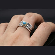 open adjustable Feather natural Green stone ring For boy or girl Silver Retro Style turquois 925 Jewerly 176