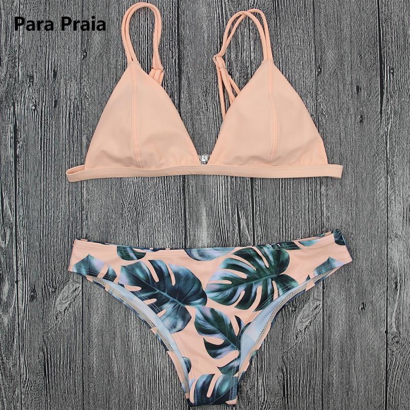 Brazilian Bikini Set Swimwear White Women Swimsuit Bathing Suit Cami Palm Leaf Print Biquini Swim Suit Maillot De Bain
