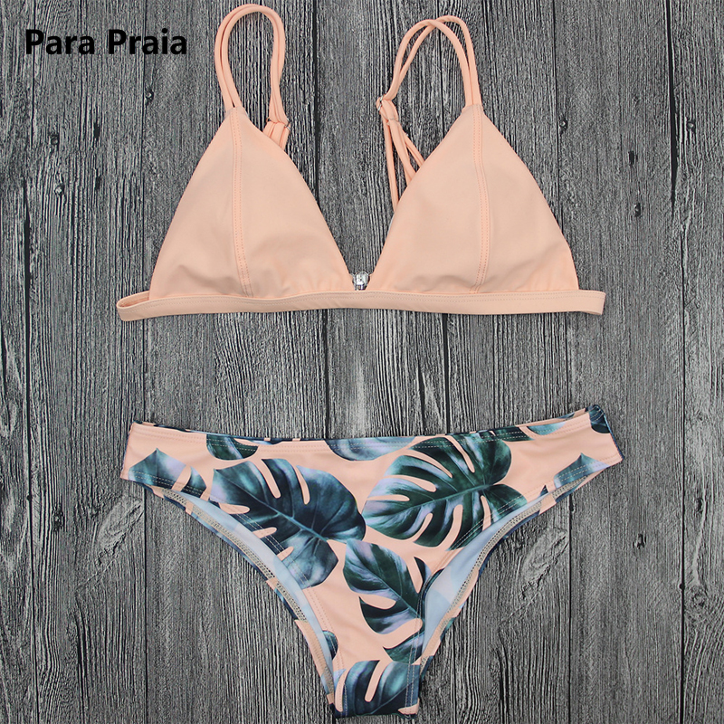 2018 Sexy Brazilian Bikini Set Swimwear White Women Swimsuit Bathing Suit Cami Palm Leaf Print Biquini Swim Suit Maillot De Bain striped print color block cami dress