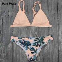 2019 sexy conjunto de biquíni brasileiro banho feminino branco maiô cami folha palmeira impressão biquini maiô maillot de bain