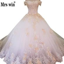 2018 Luxury Fashion Sexy Handmade Flowers Wedding Dresses 2018 Beading Sequined Princess  Long Wedding Gown Vestido De Noiva X