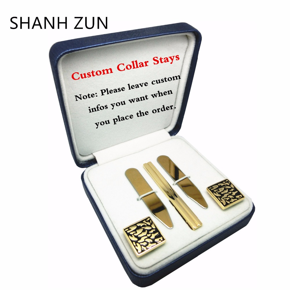 SHANH ZUN DIY Custom Stainless Steel Collar Stays Tie Clip Cufflinks Personalized Gift Set for Mens Dress Shirt все цены