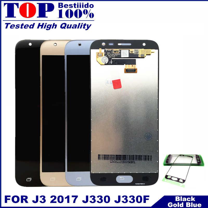 مع سطوع التحكم الاستشعار لسامسونج غالاكسي J3 2017 J330 J330F شاشة إل سي دي باللمس محول الشاشة الرقمي LCD استبدال