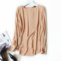 2018 сезон: весна–лето новый 100% шелковая блузка Для женщин юбка Свободные длинным рукавом Элегантные Офисные женские туфли рубашка пуловер у