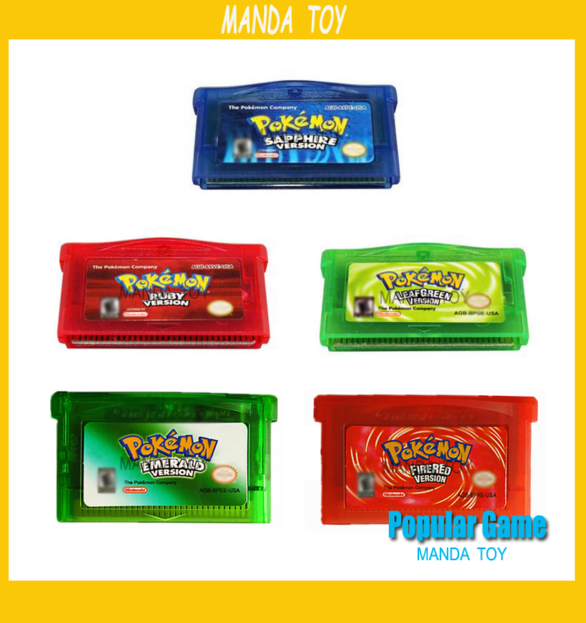 50pcs/lot GBA GAame Poke Collective Edition Video Game Cartridge Console Card For Game Boy Advance English Version
