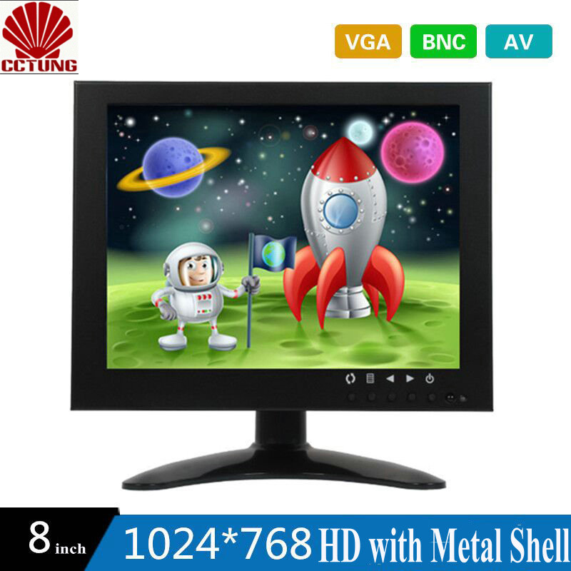 8 Inch HD CCTV TFT-LED Monitor with Metal Shell & VGA AV BNC Connector for PC & Multimedia & Donitor Display & Microscope white 8 inch open frame industrial monitor metal monitor with vga av bnc hdmi monitor