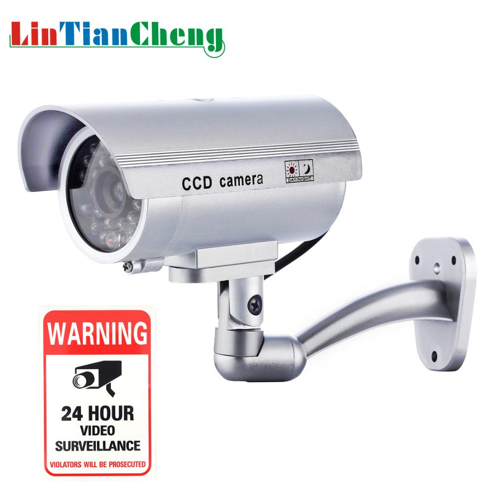Outdoor Dummy Cctv Camera Bullet Night Flashing LED White Mini Fake Home Security