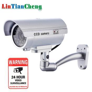 Outdoor Dummy cctv Kamera Kugel Nacht Blinkende LED Weiß Mini Gefälschte Home Security