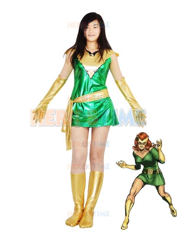 Shiny Metallic Grey Phoenix Superhero Costume Green Golden Movie Comic Jean Grey Phoenix Costume All Size Available